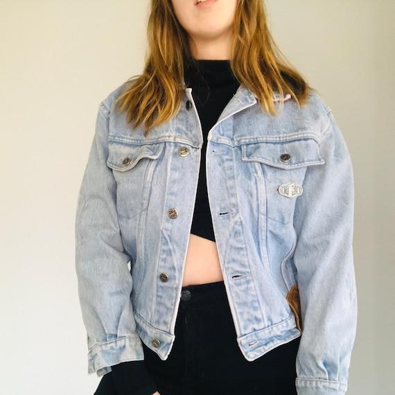 Vintage Ferré Jeans Denim Jacket with Pink Collar