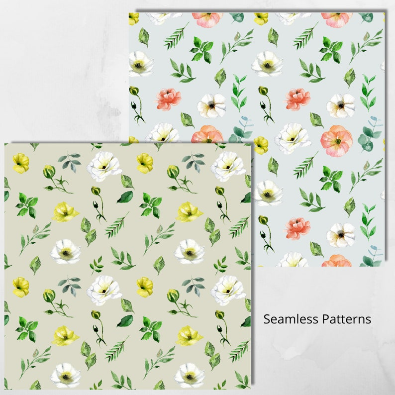 Spring Flowers Floral Pattern Background Free Commercial Use Yellow White Floral Watercolor Clipart