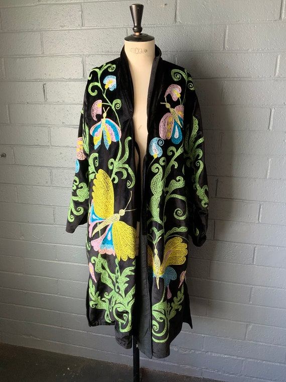 Embroidered Butterfly Flower Coat