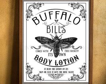 Buffalo Bill's Body Lotion Printable Wall Art   Downloadable Prints   Halloween   Goth Decor   Death Head Moth   The Silence Of The Lambs
