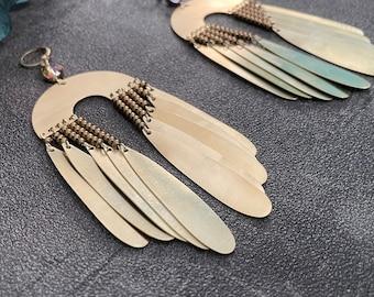 nasima - beaded brass chandelier earrings
