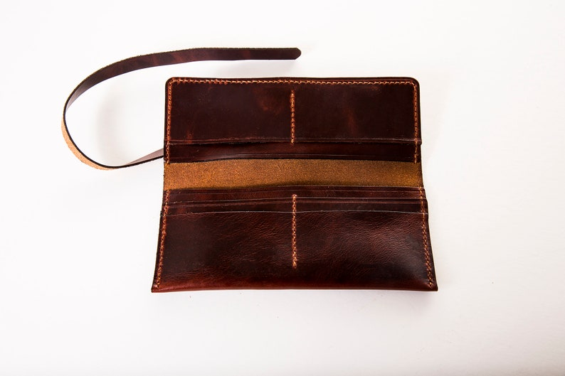 Handcrafted Leather Long Wrap Clutch Wallet Oregon USA Personalization Available Made in Portland