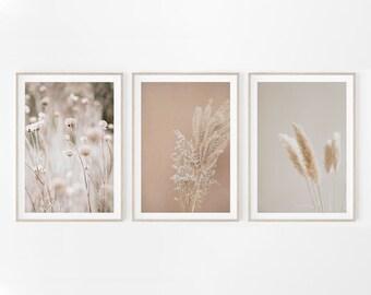 Pampas Grass Print, Set of 3 Prints, Gallery Wall, Farmhouse Decor, Printable Dried Grass, Botanical Wall Art, Modern Boho Art, Floral Print