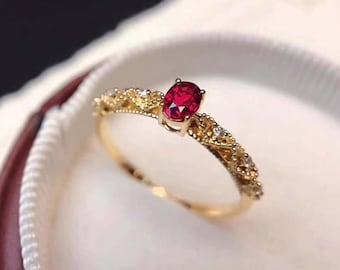 Anniversary Ring Ruby Ring Engagement Ring Silver Ring Size USCA 7. 925 Sterling Silver Ruby Gemstone Solitaire Ring