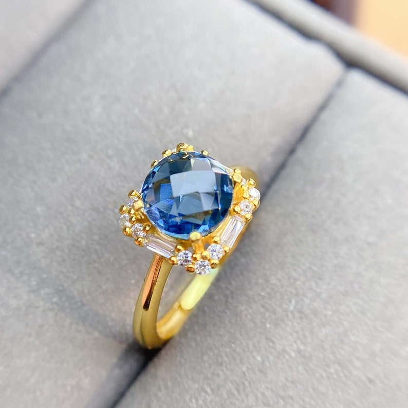 Genuine Deep Blue Stones Gift for Her Sterling Silver Birthstone Ring Jewelry Delicate London Blue Topaz