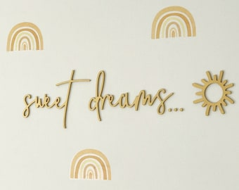 Sweet Dreams Sun Sign   Wooden Word Wall Art   Sweet Dreams Script Word   Wooden Nursery Decor   Boho Bedroom Wall Art   Kids Room Decor