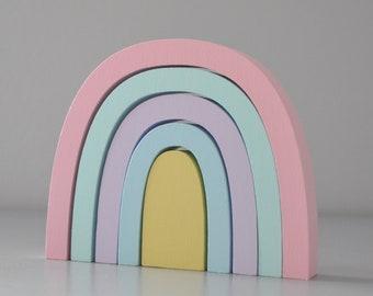 Eye Catching Wooden Pastel Color Rainbow    Nursery Decor   Baby Gift   Baby Girl   Boho Decor   Pastel nursery   Wooden Toys