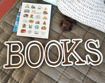 BOOKS Wooden 3D Letters, Nursery Room Decoration, Natural Wood Library Decor, Letters for Bookshelf
