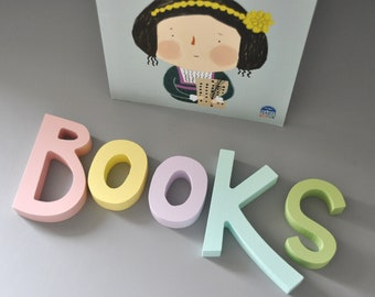 Books Wooden Letters  Nursery Wall Decor - Pastel colorful letters