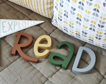 Read Wooden Letters  Nursery Wall Decor - Boho Style Earth Tones Colorful Letters