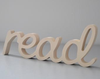Read Wooden Sign Nursery Wall Decor - Beige color