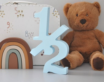 Wooden 20cm 12 number sign for 6 Month Birthday Demi Anniversary Photo Shoot Half Birthday Photo Props for Babies