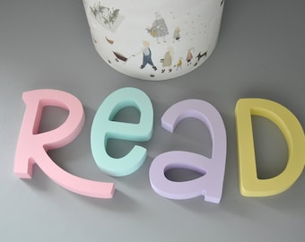 Read Wooden Letters  Nursery Wall Decor - Pastel colorful letters