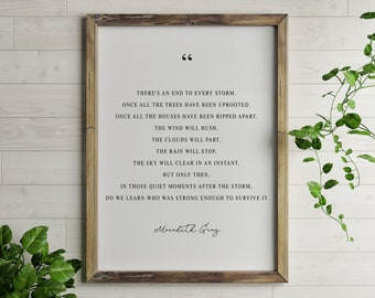 There's an end to every storm | Grey's Anatomy | Quote Print | Printable Download | Printable Wall Art | Black and White Digital Download