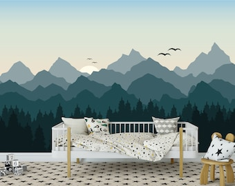 Mountains Wallpaper Mountains Custom Printed Removable Self Adhesive Wallpaper Roll by Spoonflower Blue Mountain Skiing By Bluevelvet