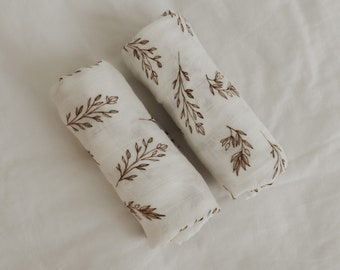 Gauze Cloth Set of 2 Fine Plants - Gauze Cloth / Spitting Cloth / Cuddly Towel / Gauze Diaper