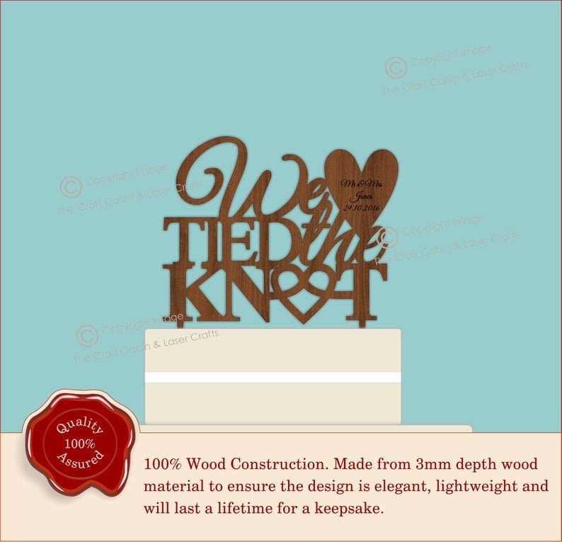 Wooden Cake Topper Weddings Engagement Anniversary We Tied The Knot