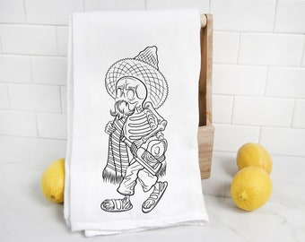 Till Death Do Us Part Embroidered Towel Flour Sack Towel Kitchen Towel Hand Towel Tea Towel Embroidered Skeleton Day of the Dead