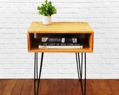 Reclaimed Wood End Table Side Table Nightstand Bedside Table Golden Antique Finish Steel Hairpin Legs Modern Industrial Rustic