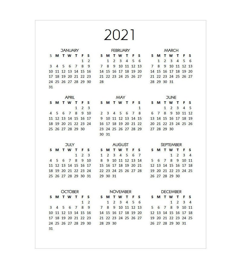 Printable 2021 Calendar Year at a Glance Vertical Standard ...