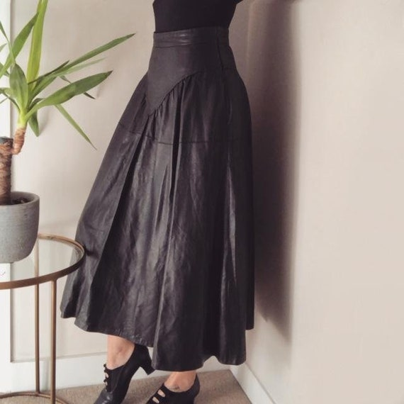 Vintage 1980's Leather circular A-Line skirt