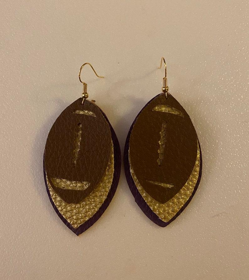 Dangle earrings School Spirit Triple layer football earrings Faux leather earrings