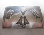 Vintage Sterling silver Navajo belt buckle TABE GAY