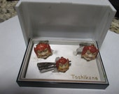 Vintage New Stock Tosikane Porcelain cuff links tie clip