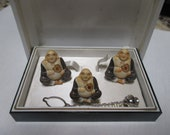 Vintage Toshikane Asian Buddha cuff links tie pin