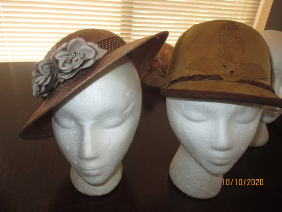 Two vintage hats leather, straw hats