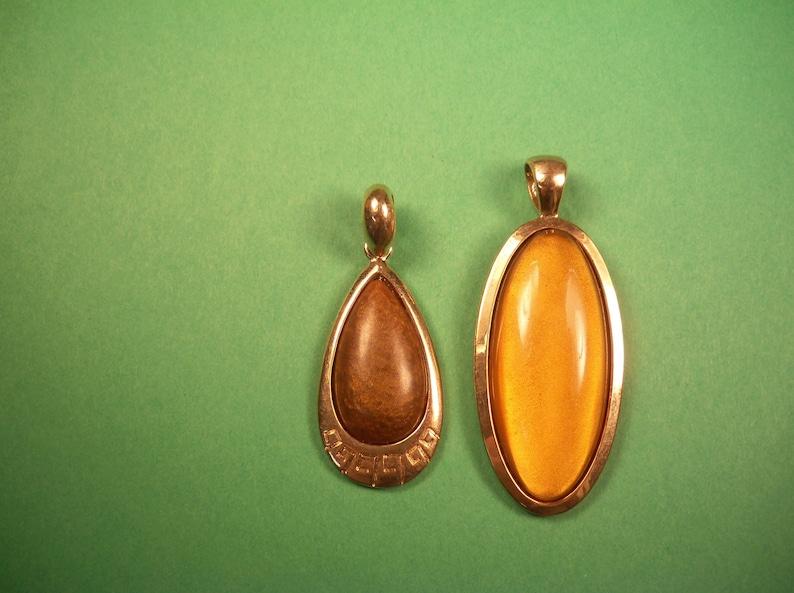 Vintage RMN Cabochon Pendants Butterscotch /& Chocolate Goldtone Mounts Lot of 2