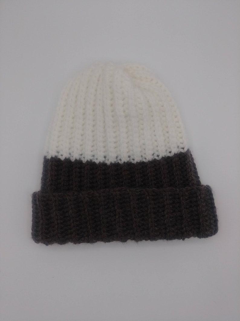 White /& Brown Mixture Beanie Hat