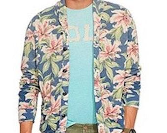 Ralph Lauren Polo - Vintage Hibiscus Shawl Collar Cardigan, Linen + Cotton