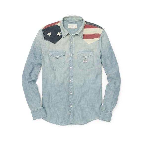 "Ralph Lauren ""Flag Applique Chambray Shirt"", Ameri"