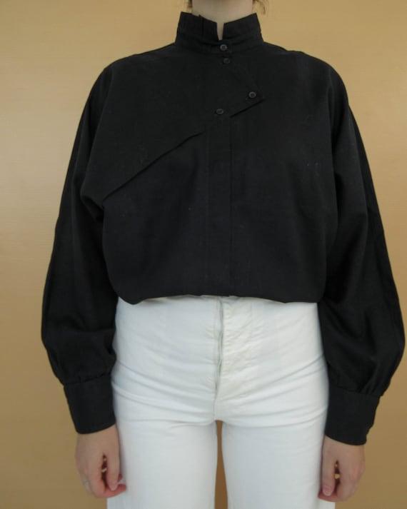 Black Linen & Cotton Blouse