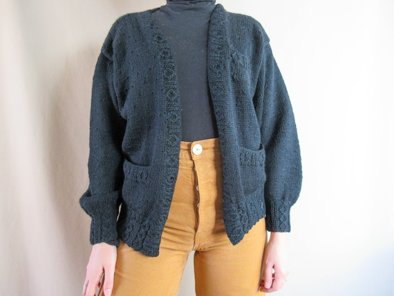 Vintage Black Wool Cardigan