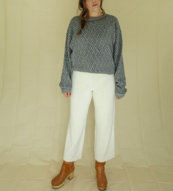 Gray & White Alpaca Knit Sweater