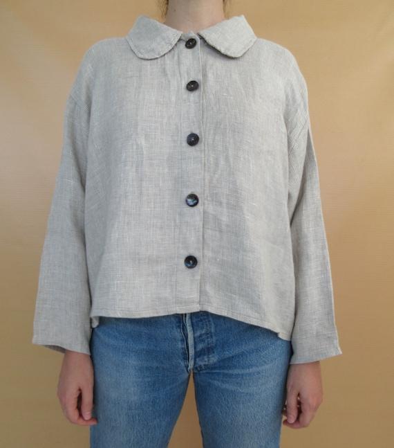 Linen Peter Pan Collar Shirt Jacket