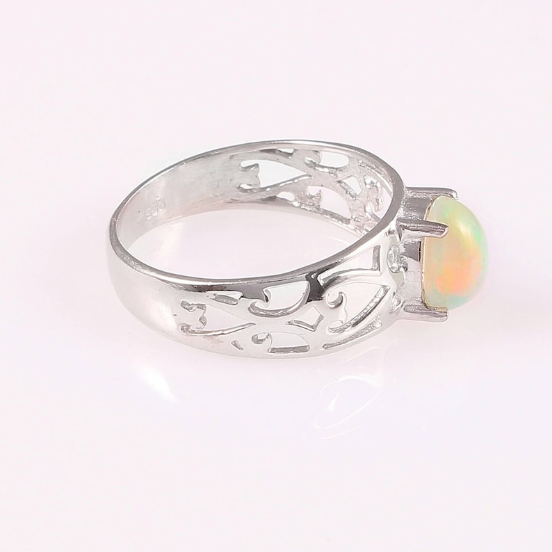 Natural Ethiopian Opal Ring...925 Sterling Silver Ethiopian wello Opal Ring...wedding Ring...size 6x8 mm Oval Cabochon..#R136
