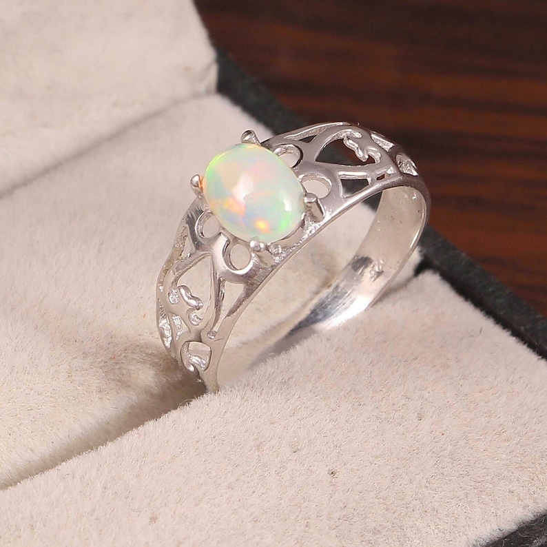 Natural Ethiopian Opal Ring...925 Sterling Silver Ethiopian Wello Opal Ring...wedding Ring...size 6x8mm Oval Cabochon..#R137