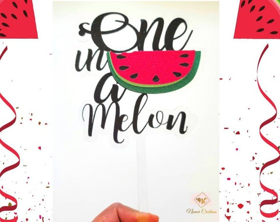 One in a Melon First Birthday / Watermelon Cup Cake Topper / Watermelon Birthday/ One in a melon Acrylic and Cardstock Cake Topper