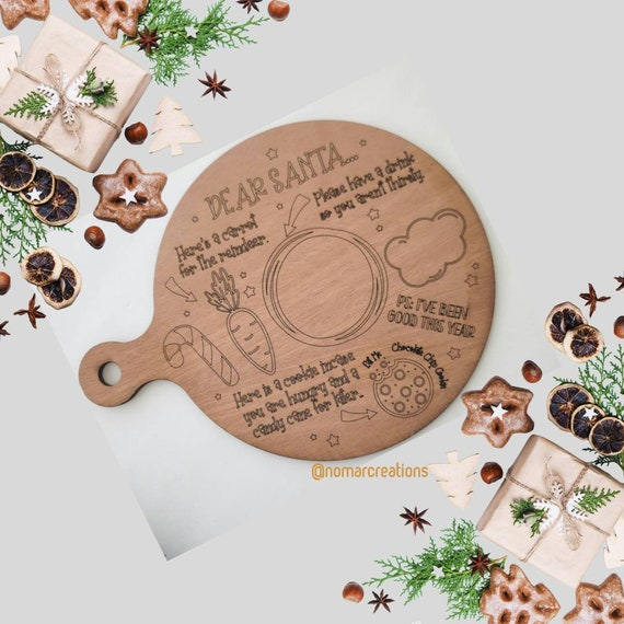 Personalized Santa Tray, Milk and Cookies for Santa, Christmas Eve Traditions Tray, Cookie Tray