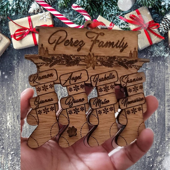 Family Names Personalized Christmas Ornament / Wood made Family Ornament