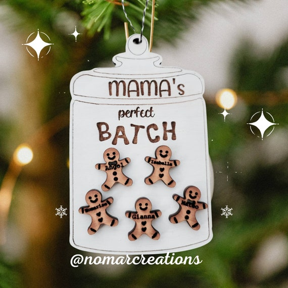 Personalized Mason Jar and Gingerbreads cookies with names Ornament/ Personalized Wood  Ornament