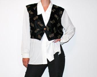 vintage 90's vest and shirt combo / long sleeve white shirt / long loose shirt / oversized women shirt / vintage button shirt plus size