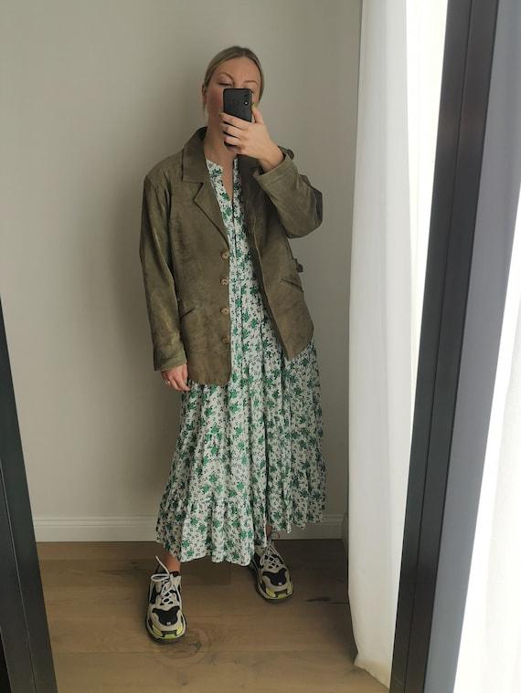 Oversized Suede Jacket / Green Leather Blazer / G… - image 4