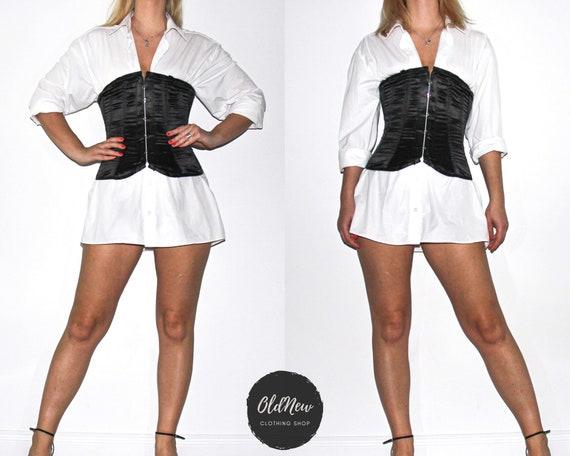 black vintage victorian style overbust corset / ti