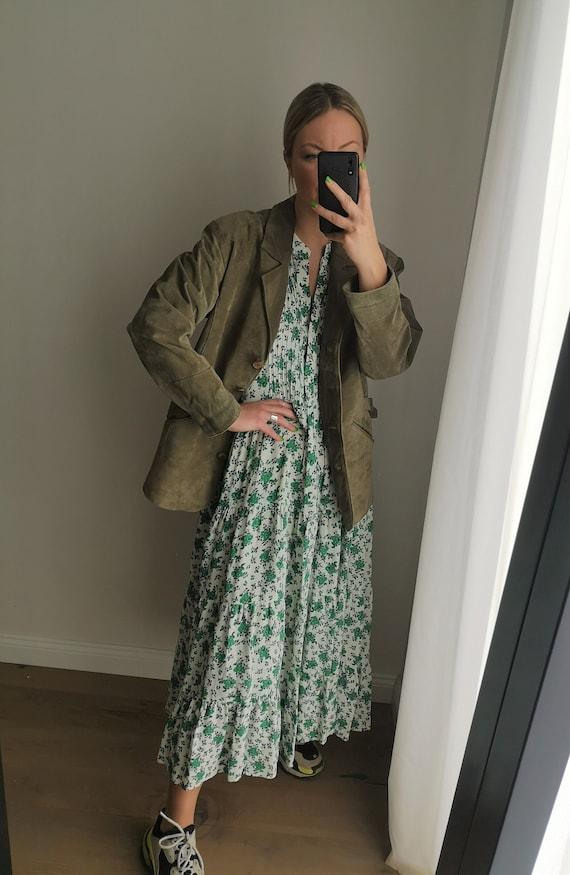 Oversized Suede Jacket / Green Leather Blazer / G… - image 1