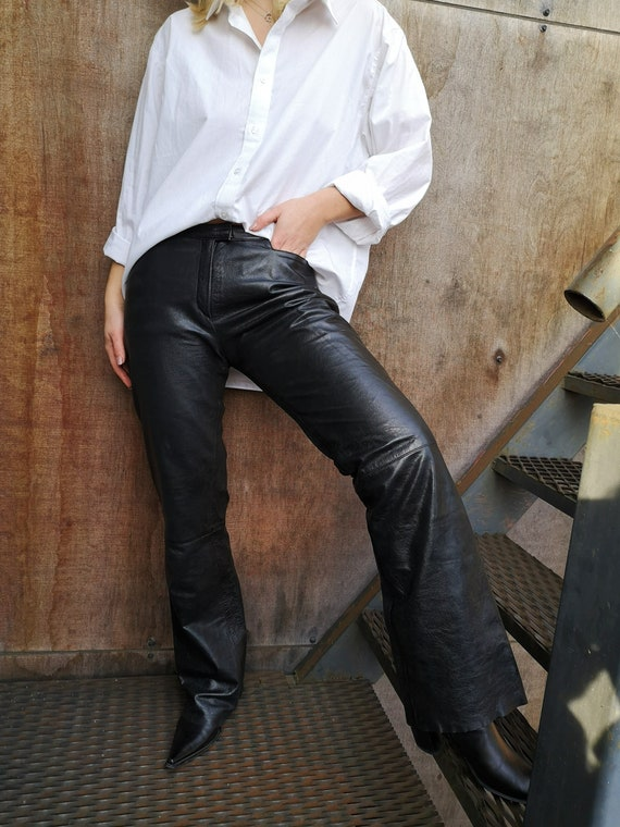 90's Leather Pants / Real Leather Pants / Black L… - image 1