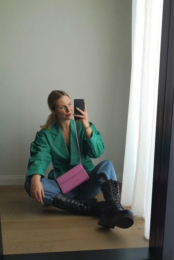 80's Leather Jacket / Puff Sleeve Leather Coat / … - image 1